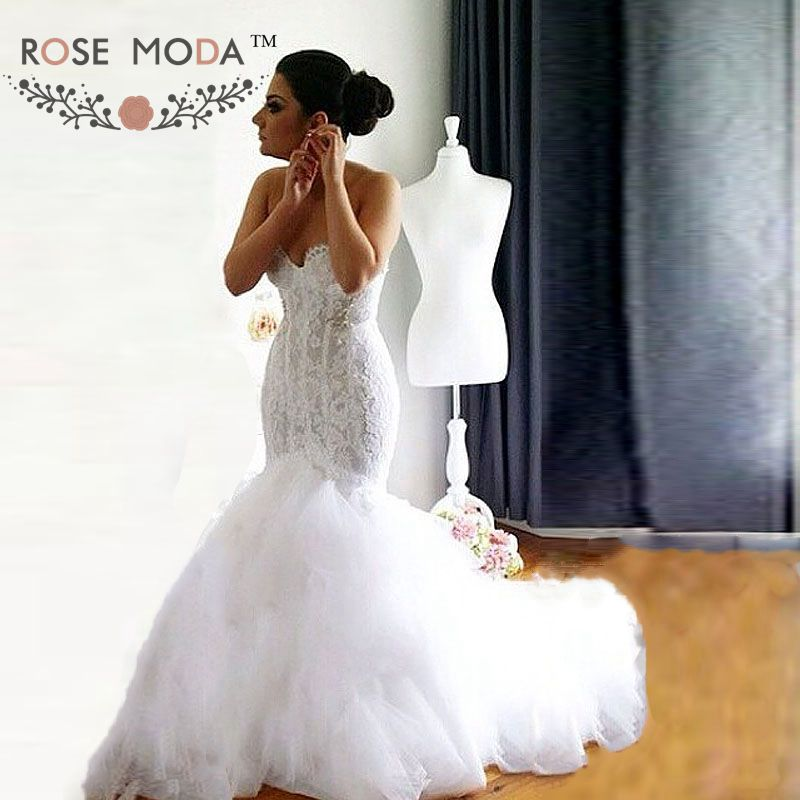 Crystal Wedding Gown: Aliexpress.com : Buy Rose Moda Lace Mermaid Wedding Dress