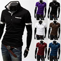 Free shipping 2015 summer new men's fashion casual short-sleeved shirt Slim solid color POLO shirt 5 colors black white