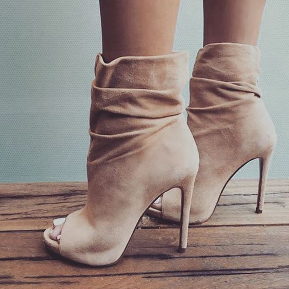 Nude suede open toe ankle boots sexy high heel boots for woman ...