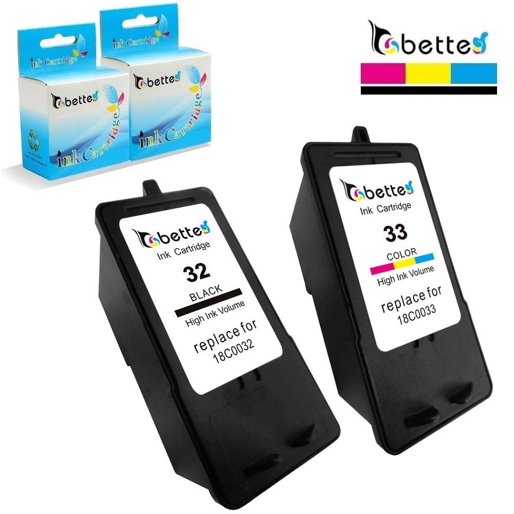 лучшая цена 2PK,Ink Cartridges for Lexmark 32 33 Printer P315 P450 P915 P4330 P4350 P6210 P6250 X3350 X5250 X5270 X7170 X7300 Z815 Z816 Z810