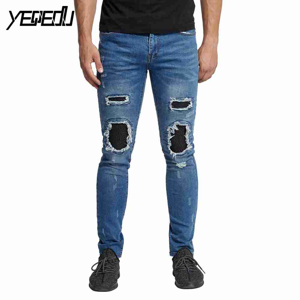 #2105 2018 Slim fit Pleated Skinny jeans for men Black/blue Ripped jeans for men Fashion Punk Famous brand Patchwork jeans homme