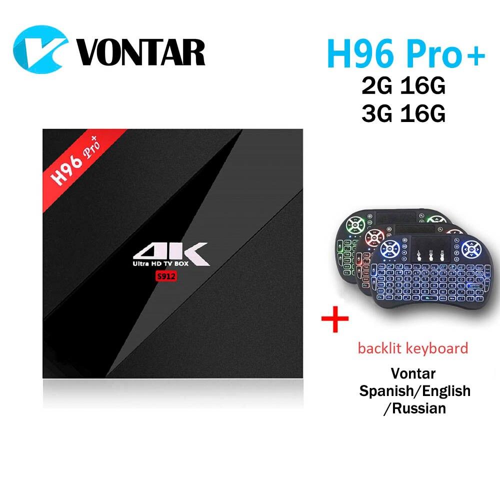 VONTAR 2 г 16 г 3g 16 г H96 Pro + Amlogic S912 Octa Core Android 7,1 ТВ Box 2,4 г/5,8 Г Wi-Fi H.265 4 К Коди Smart ТВ коробка H96 Pro Plus