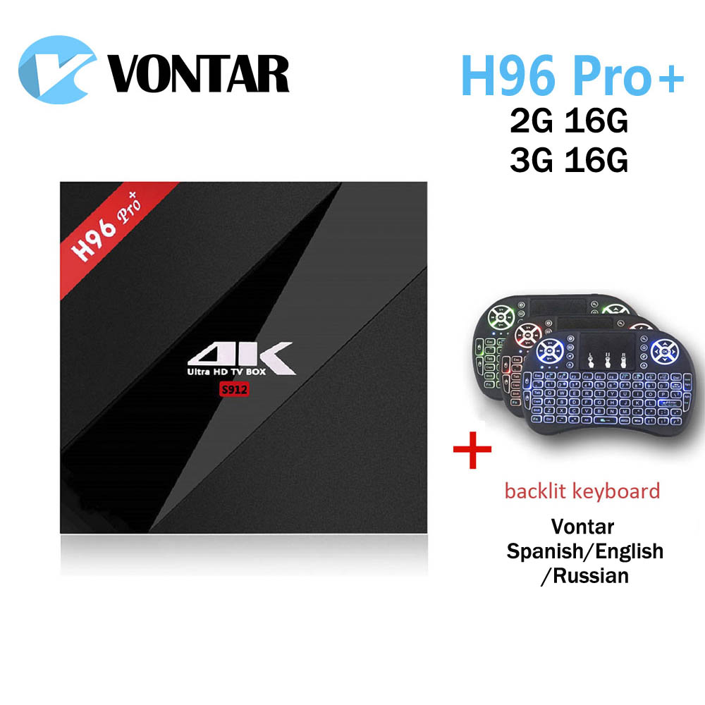 VONTAR H96 pro plus android 7,1 ТВ коробке 2 ГБ 16 ГБ Amlogic S912 Octa Core 2,4 г/5,8 г Wi-Fi H.265 4 К Smart ТВ коробка H96 Pro + 3 ГБ 16 ГБ