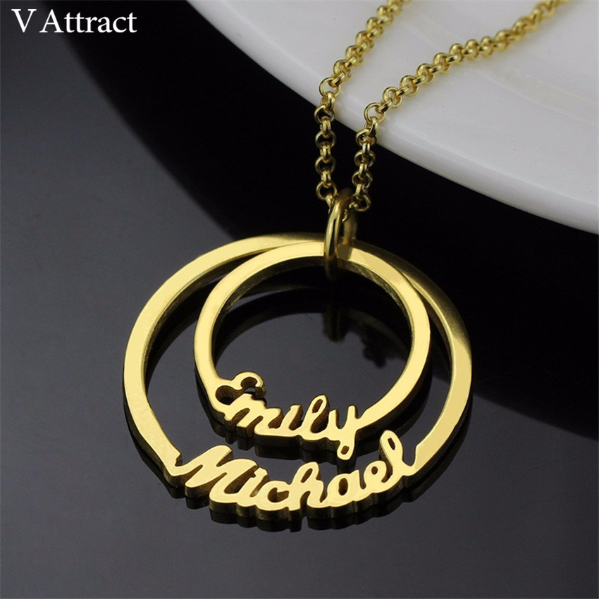 цена Two Discs Charm Choker Personalized Name Layered Circle Necklace Couples Jewelry Wedding Gift Stainless Steel Pendant Collier в интернет-магазинах