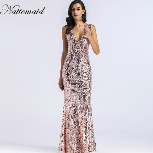 NATTEMAID Sparkle sequin Long Dress 2018 New V-Neck Women Elegant Sequin  Maxi Evening Party 0f3b141fb3f5