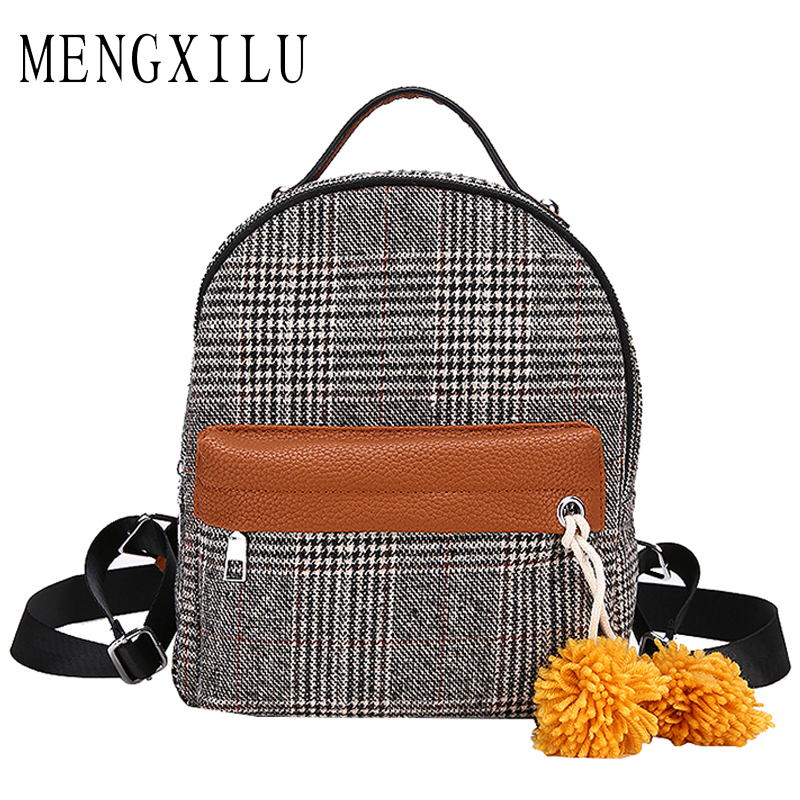 MENGXILU Fashion Brand Wool Backpack Women Plaid Backpacks For Teenage Girls High Quality Ladies Back Pack Fur Ball Sac A Dos