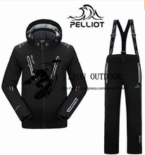 2016 Pelliot male snowboard suits jacket+pants Men's water-proof,breathable thermal cottom-padded snowboard suit men ski jacket
