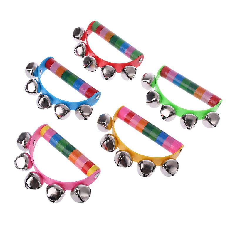 2019 Hot Selling Musical Tambourine Metal Bell Wood Percussion Instrument Handbell For Kids Toy Gifts