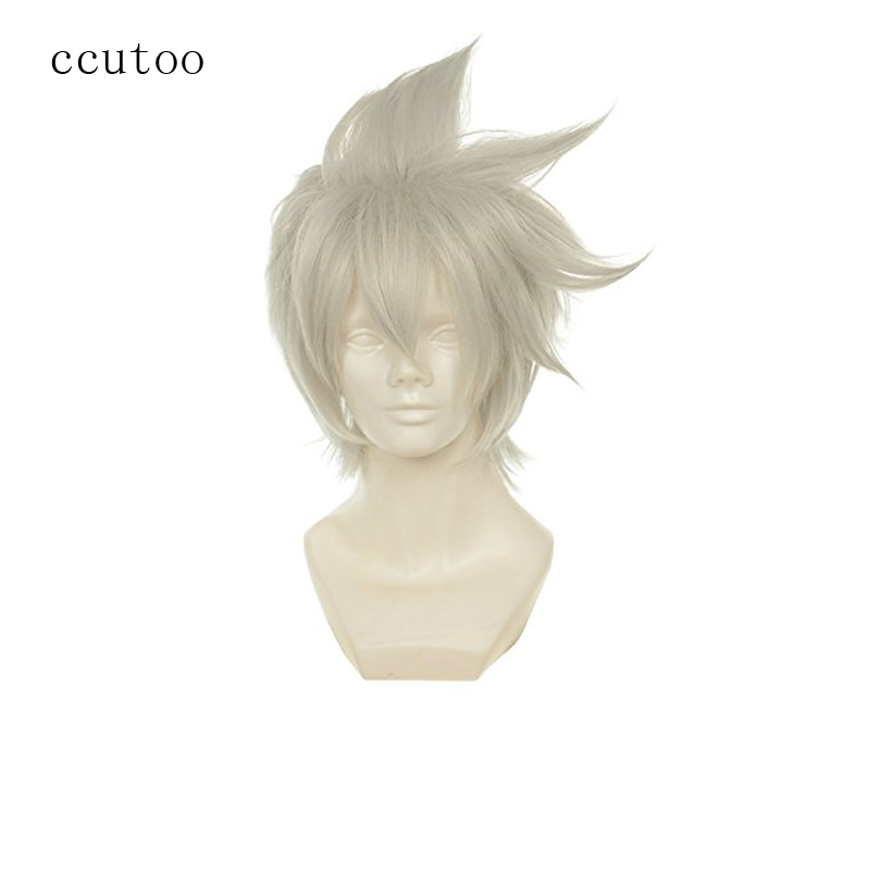 ccutoo 12 Mens Short Silver Grey Shaggy Layered Synthetic Hair Heat Resistance Fiber Cosplay Full Wigs
