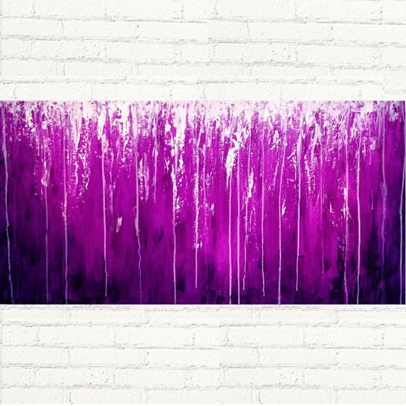 100% peint à la main toile art abstrait couleur pourpre peinture à l'huile mur art pour la décoration de bureau à domicile