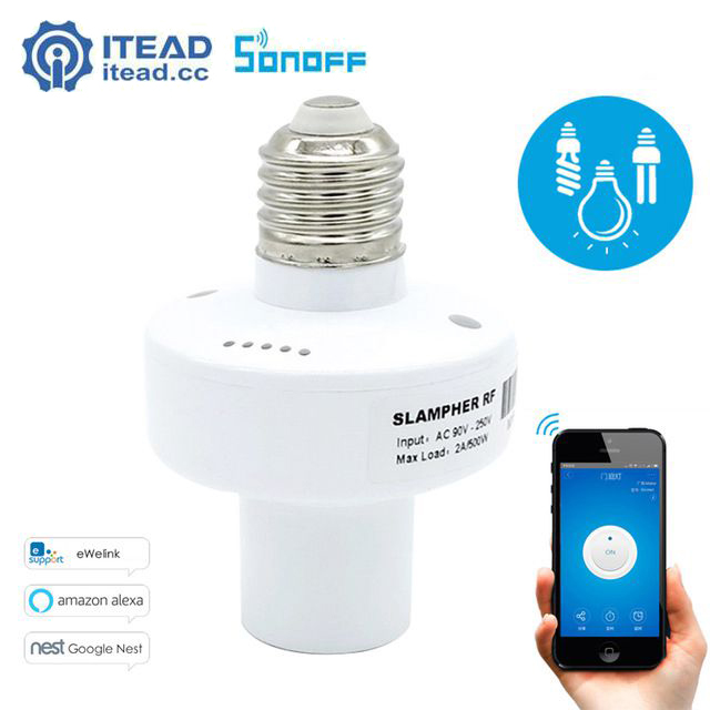 Itead Sonoff Wifi Led Light Holder E27 Screw Slampher RF 433MHz Smart Home Switch Module DIY Remote Control Bulb Holder new rf 315 e27 led lamp base bulb holder e27 screw timer switch remote control light lamp bulb holder for smart home