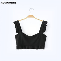EDENCOMER Sexy Short Crop Top for Women 2017 Summer Ruffles Camisole Lace White Vest Midriff-baring Top Slim Female Tank Top