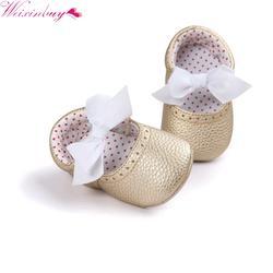 WENXINBUY из искусственной кожи детские первые ходунки обувь новорожденных принцессы обувь с бантами мягкие младенцев кроватки обувь