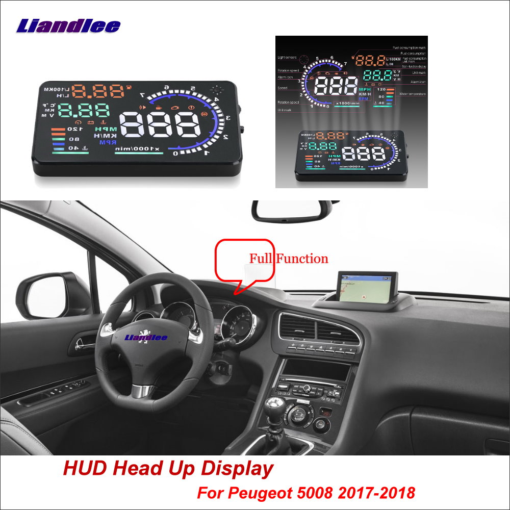 Liandlee Full Function HUD Car Head Up Display For Peugeot 5008 2017 2018 Safe Driving Screen OBD Data Projector Windshield in Head up Display from Automobiles Motorcycles