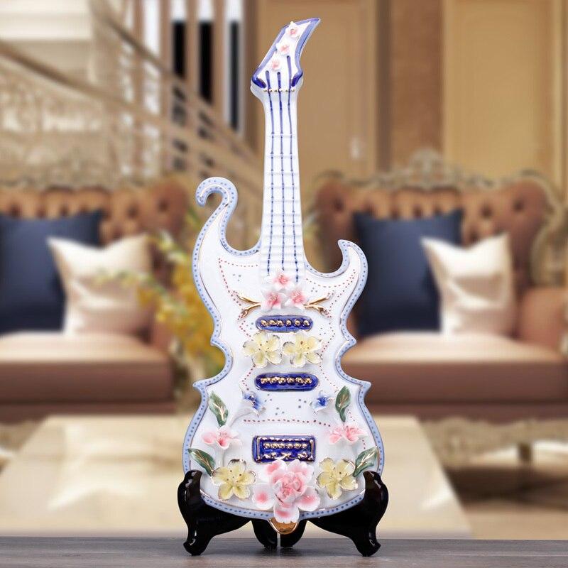 Artisanat créatif mariage violon guitare Lute en céramique décor à la maison artisanat chambre décoration en céramique ornement porcelaine Figurines