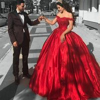 Off the Shoulder Red Ball Gown Prom Dress Quinceanera Dress Sweet 16 Dress Lace Tulle Skirt Long Teen Girls Pageant Dress 2019