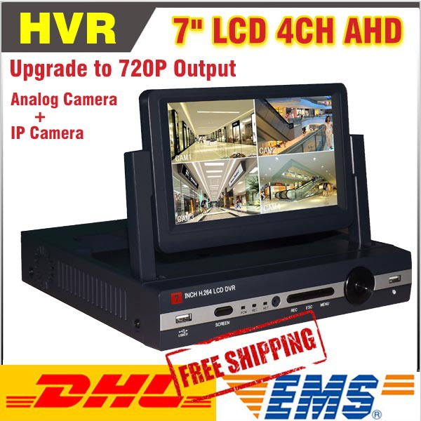 4 CH Channel 720P AHD 7inch LCD Hybrid HVR NVR CCTV  DVR Recorder Support AHD+Analog+IP Camera Mobile Phone Viewing 4 ch channel 720p ahd 7inch lcd hybrid hvr nvr cctv dvr recorder support ahd analog ip camera mobile phone viewing