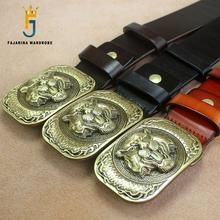 FAJARINA Mens Top Quality Cowhide Leather Belt Unique Animal Tiger Pattern Brass Slide Buckle Metal Belts Men Genuine N17FJ356