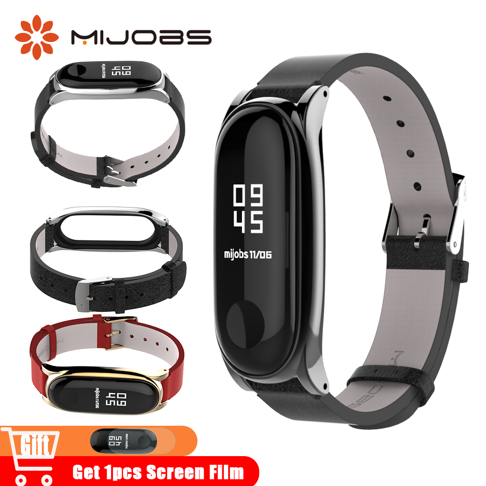 Mijobs Mi Band 3 Strap Leather For Xiaomi Mi Band 4 Smart Bracelet Wristband Miband 3 Watch Mi 4 Accessories Miband4 Wrist Strap