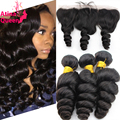 Grade 8A Raw Indian Virgin Hair Loose Wave With Frontal Ear to Ear Closure Remy Human Hair Bundles With Lace Frontals Curl Weave