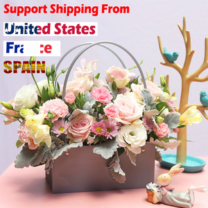 Image 2 - PVC Bouquet Flower gift Boxes Round Living Vases Florist Box Flower Plant Boxes Gift flower box  gift bags with handles