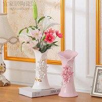 European ceramic gold plated flower vase wedding housewarming living room decorations table water culture vase furnishings