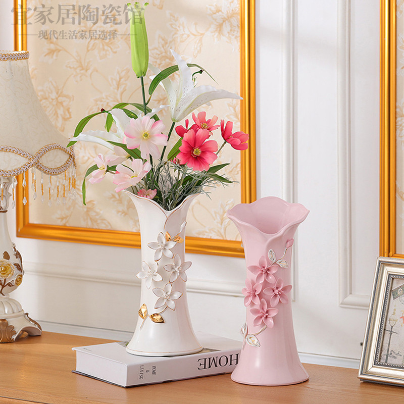 European ceramic gold-plated flower vase wedding housewarming living room decorations table water culture vase furnishingsEuropean ceramic gold-plated flower vase wedding housewarming living room decorations table water culture vase furnishings