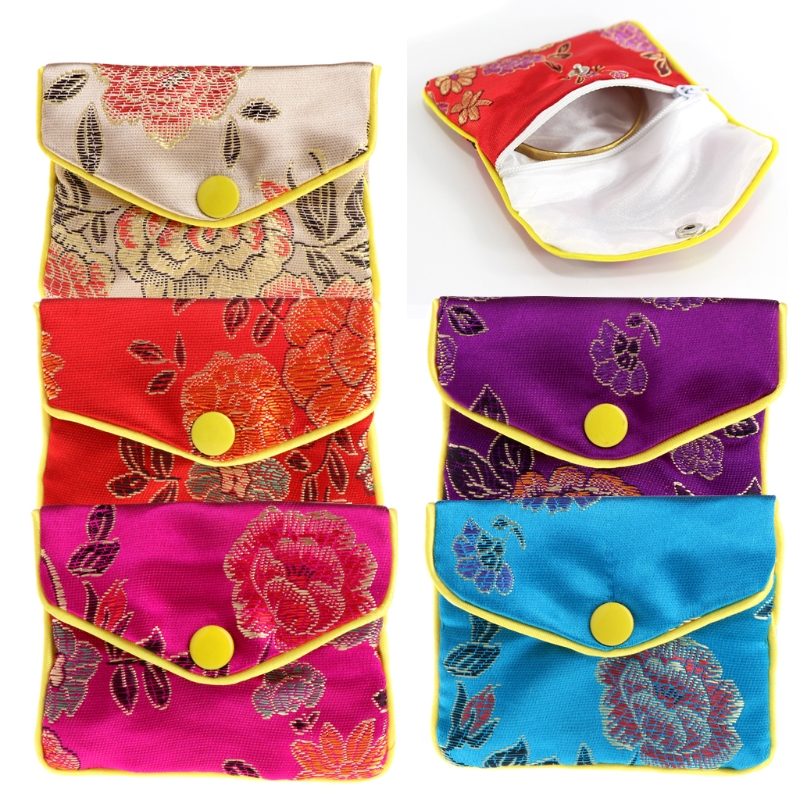 New Jewelry Storage Bags Silk Chinese Tradition Pouch Purse Gifts Jewels Organizer Purple Red Light Yellow Blue Rose Red 6x8cm