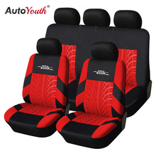 AUTOYOUTH Red Tire Track Detail Style Polyester Fabric Universal Car Seat Covers Set Fits Most Brand Vehicle Car Seat Protector
