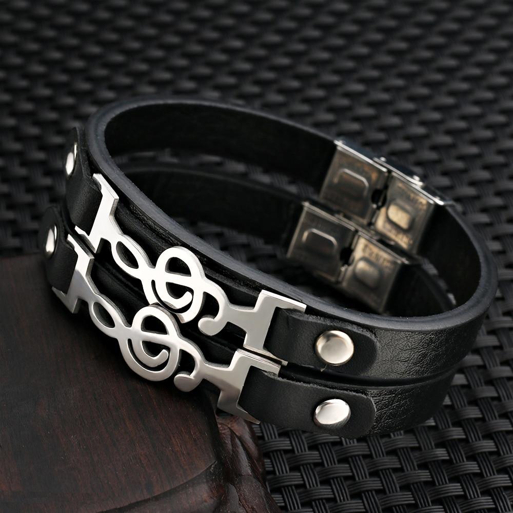 Design Musical Notes Braclet Men Genuine Leather Bracelet Male Hiphop stainless steel Bracelets Hand Jewelry Pulseira Feminina