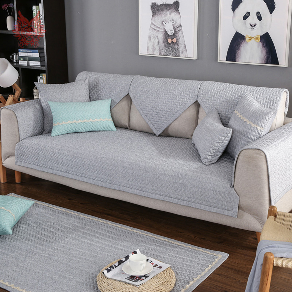 Aliexpress Com Buy Grey Beige Plaid Quilted Sofa Cover