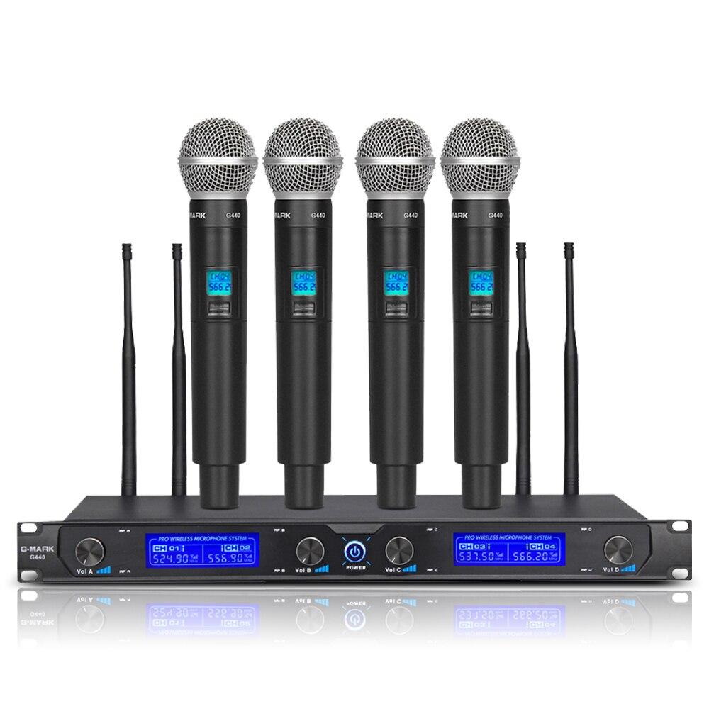 G-MARK G440 SISTEMA DE MICRÓFONO INALÁMBRICO profesional de cuatro canales UHF Dynamic Pro 4 micrófono portátil para fiesta de Karaoke