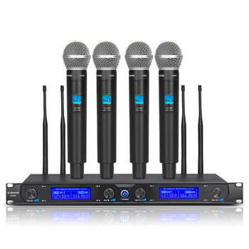G-MARK G440 Wireless Microphone System Professional Four Channel Dynamic Pro 4 Handheld Mic Karaoke Party Stage xtuga professional 8 channel uhf wireless microphone system 8 handheld mics independent channel volume control for stage party