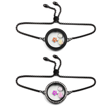 Black Floating Living Memory Charms Locket with Crystals Bracelet  316L Stainless Steel Stone Plates Storage Adjustable