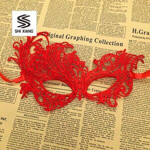 Image 4 - 1 шт., женские Кружевные маски для Хэллоуина, черные, красные, белые маскарадные костюмы для вечеринок, украшения на день рождения