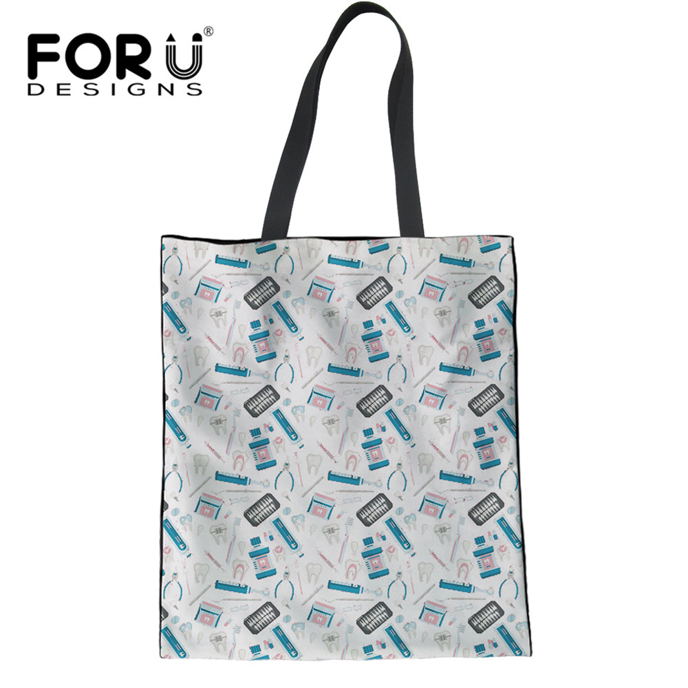 3D Dentist Pattern Women's Shopping Bags Reusable Tote Canvas Eco Bags Cloth Storage Shopper Garbage Bags