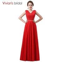 Vivian của Bridal Phụ Nữ Thanh Lịch Bridesmaid Dresses Long A Dòng Black V Neck Sexy Wedding Party Bridesmaid Dress