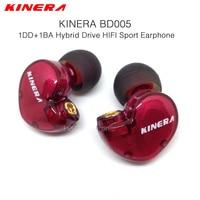 Original KINERA BD005 1DD Com 1BA Hybrid Drive Esporte HIFI Fone de ouvido Música de Qualidade Fone de Ouvido Fones De Ouvido DIY