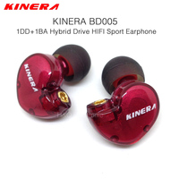 Original KINERA BD005 1DD With 1BA Hybrid Drive Sport HIFI In Ear Earphone Quality Music Earphone DIY Earphones
