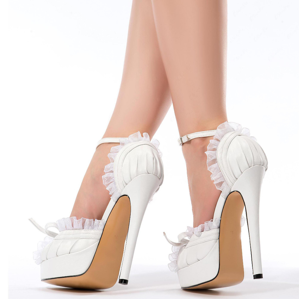 ФОТО Mavirs 2017 Fashion Peep Toe Platform Women High Heels White Sandals Large Size Stiletto Ladies Casual Shoes Wedding Party