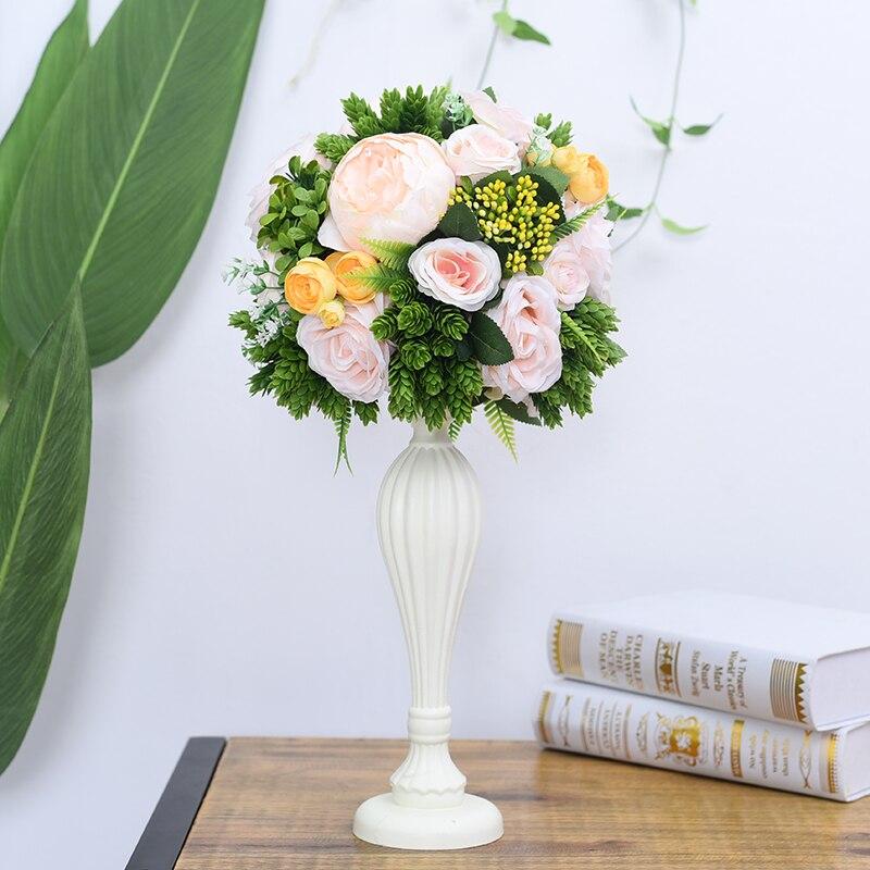Flone casamento mesa de madeira peça central flores adereços com vaso estrada chumbo flor bola decoração artificial flor hotel christma - 5