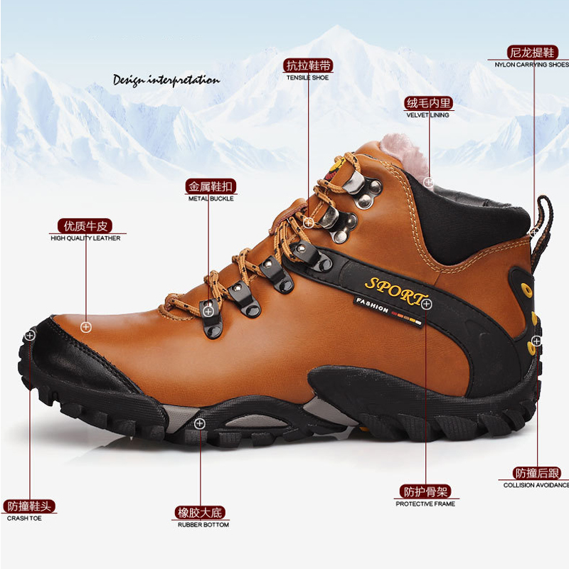 Genuine Leather Ankle Boots Winter Warm Fur Snow Boots Male Shoes Adult Sneakers For Men Casual Safety Walking Footwear