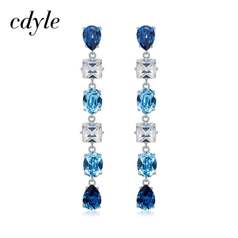 Cdyle Crystals from Swarovski Luxury Multicolor Austrian Rhinestones Drop Earrings For Women Wedding Jewelry Elegant Style stylish artificial crystals rhinestones oval necklace for women
