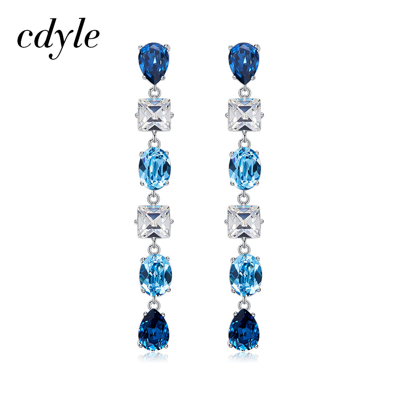Cdyle Crystals from Swarovski Luxury Multicolor Austrian Rhinestones Drop Earrings For Women Wedding Jewelry Elegant Style