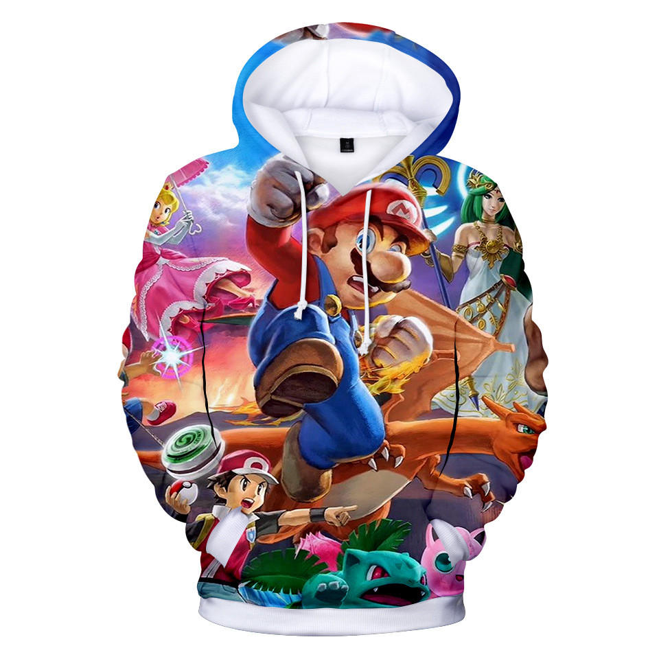 New unisex Adults Super Mario lovely Clothing Halloween Cosplay Super Mario Round collar Hoodies & Sweatshirts Costume