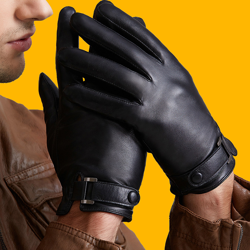 Men's Cool Genuine Leather Sheepskin Gloves Thin/ Thick Plush Winter Warm Full Finger Touch Screen Driving Gloves Mittens A42