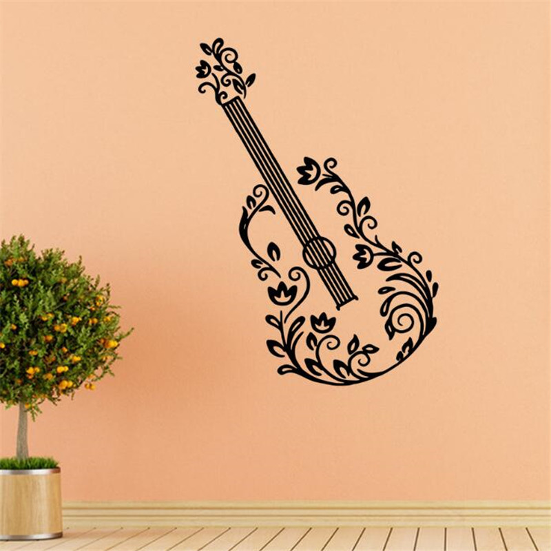 Idfiaf 1pcs Wall Stickers Flower Electric Guitar Chords Rock Music