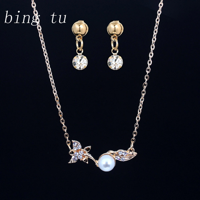 Bing Tu Fashion Simulated Pearl Indian Jewelry Sets Gold Color Leaf