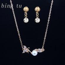 5dcb5a152919 Bing Tu moda simulado perla India joyería conjuntos oro Color diseño de la  hoja collar de la pequeña pendientes de la joyería mu.