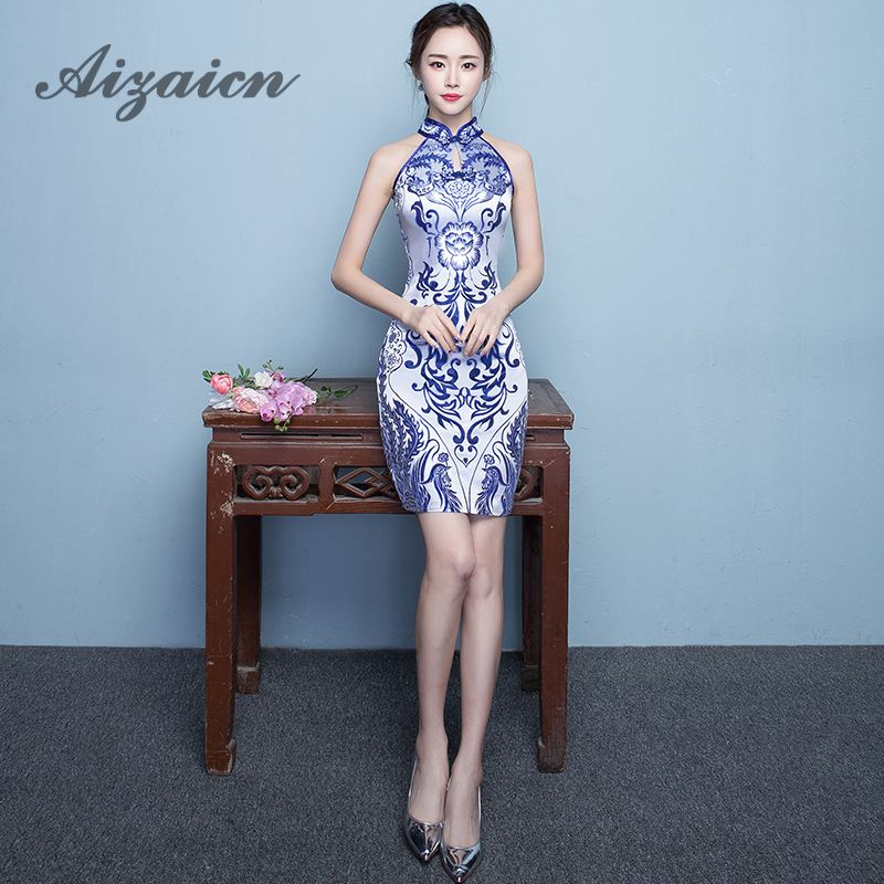 Blauwe Xiaqinghua porselein ceremonie Cheongsam rok Chinese jurk moderne Qipao Vintage Sexy oosterse gewaad Chinoise Qi Pao